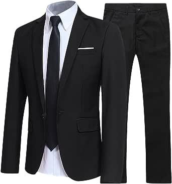 Mens Suits 2 Piece Suit Slim Fit Wedding Dinner Tuxedo Suits for Men Business Casual Jacket & Trousers 10 Colors Available