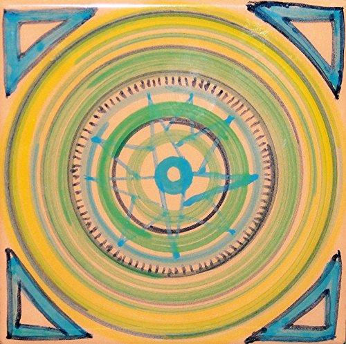 Geometrische Fliese - Keramikfliese von Hand dekoriert, Abmessungen cm 10x10x0,8 cm Made in Toskana Italien, Certified Lucca.