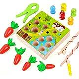 Jouet Montessori Bebe, Jouet en Bois Enfant 1 2 3 Ans, Jouets d'Éveil Éducatif de Carotte Jeu de Pêche Magnetique Jeux Stack
