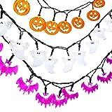 Qedertek Decoración Halloween, Cadena de Luces de 3 Paquetes 20 LED, Luz de Diseño de Calabazas Halloween, Murciélagos y Fantasmas para Halloween y Cualquier Tipo de Fiesta o Evento