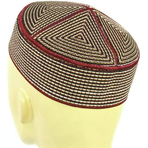 Kashmiri Patterned Stiff Hat (brown with gold and