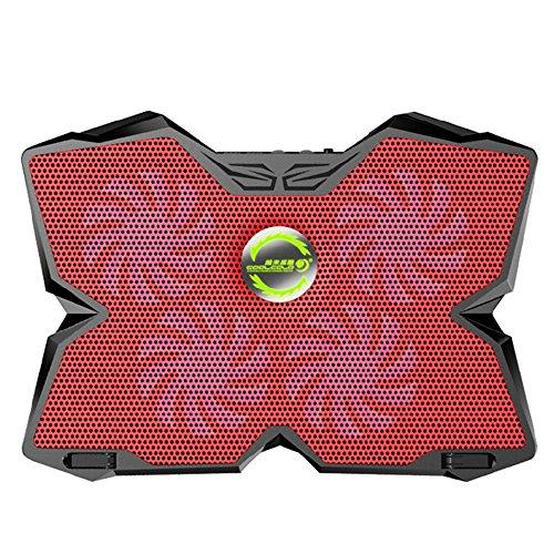 KOBWA Laptop Kühler Kühlung Unterlage Ständer 15,6-17.3 Zoll Ultra-ruhig Notebook Cooler Cooling Pad mit Fünf Höhenverstellbar und Dual USB Port für Macbook Laptop Notebook(Rot)