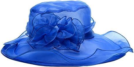Tukistore Donna Cappello staccabile da chiesa Cappello derby elegante Retro elegante cappello da organza in tulle capello floscio Cappello bombetta da sole per cerimonie da viaggio