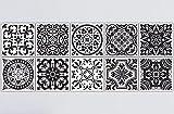 Frolahouse Dekorative Fliesen Aufkleber Fliesenaufkleber 10 stück Schälen & Stick Vinyl Fliesen. 20cmx20cm Wohnkultur. Klassischer Schwarzweiss-Retro- europäischer Art Möbel-Dekor. ölbeständige wasserdichte Tapete