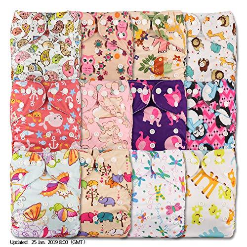 LittleBloom BEBE Tissu Couche Couches Lavables Poches REUTILISABLE, Fixation: POPPER, Lot De 12, MODELE 1202, Avec 12 Fibre De Bambou Insert