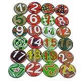 Seama 24 Adventskalender Zahlen Buttons: Bunte, nummerierte Anstecker (Ø 40 mm) zum Basteln von...