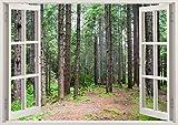 3D-Wandbild Geöffnetes Fenster - großformatig aus hochwertigem Vinyl - wiederverwendbar - Wandaufkleber - Hochwertige Aufkleber - Wandtattoo Fenster - Wald Grüne Bäume 3d Wandsticker 85 x 115 cm