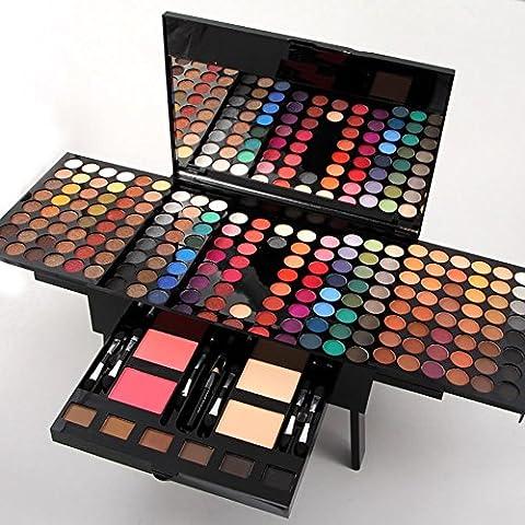Professionelle 180 Farben Lidschatten Palette Contouring Kit Kombination mit Augenbrauen Pulver, Blusher und Press Powder, Kosmetik Make Up Kit Set Box mit Spiegel