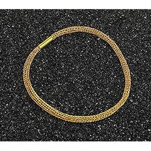 Edles Damen-Collier aus 24ct vergoldetem Draht mit Magnetverschluss, Halskette, Schlauchkette, gehäkelte Kette aus Draht