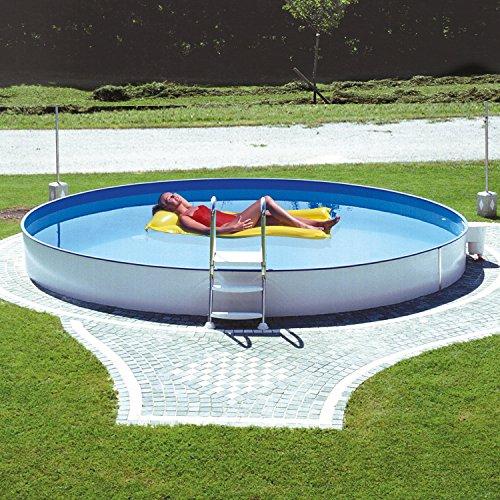 Miganeo® Stahlwandpool Styra rund, Einbaupool, Pool verschiedene Größen 350x120cm - 600x150cm, auch zum Erdeinbau (500x120cm) -