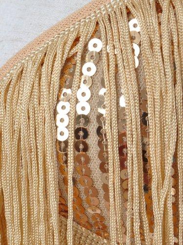 Anna-Kaci Frauen Adjustable Gatsby Pailletten Quaste Fransen Troddel 1920s Flapper ärmellos Schwingen Quasten Rückenfrei Spaghettibügel Party Mini Kleid Gold