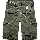 moroess Men's Casual Cargo Cotton Shorts Outdoor Quick Dry Shorts Climbing Shorts with 8 Pockets