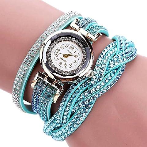 Tongshi Brazalete de Oro Cristal Mujeres Mujeres de lujo del reloj del cuarzo del reloj del Rhinestone de las señoras del vestido relojes del regalo (azul)