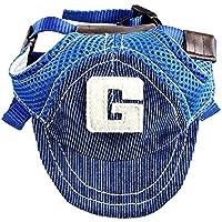 YUMSUM Gorra de béisbol de mascotas perros visera de deporte sombrero de sol con agujeros para los oídos para perros grandes,G Azul