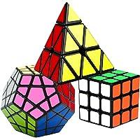 Coolzon Speed Cube Rubiscube, Ensemble de Cubes 3x3 + Pyraminx + Megaminx Dodecahedron, Cube de Vitesse Paquet de 3