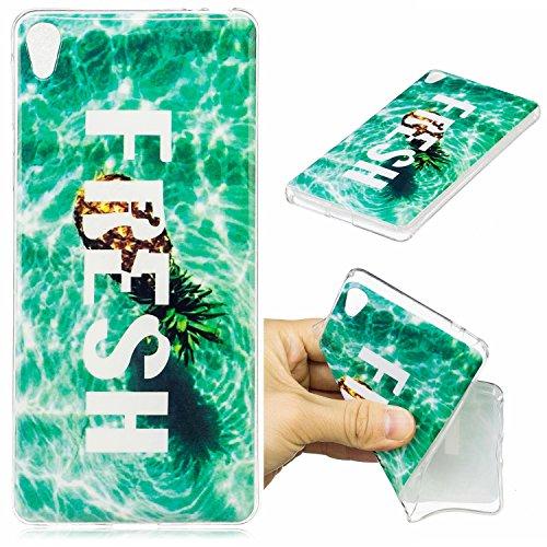 Sony Xperia E5 Hülle Case, Cozy Hut [Fun-Serie] Ultra Dünn [Crystal Case] Transparent Soft-Flex Handyhülle / Bumper-Style Premium-TPU Silikon / Perfekte Passform / Kratzfest Schutzhülle für Sony Xperia E5 Case, Sony Xperia E5 Cover, Sony E5 Case, Sony E5 Cover - Ananas