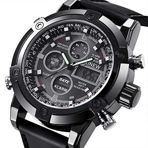 Challeng Herrenuhr LED Sportuhr Luxus Leder Quarz Analog Digital Business Armbanduhren Geschenk