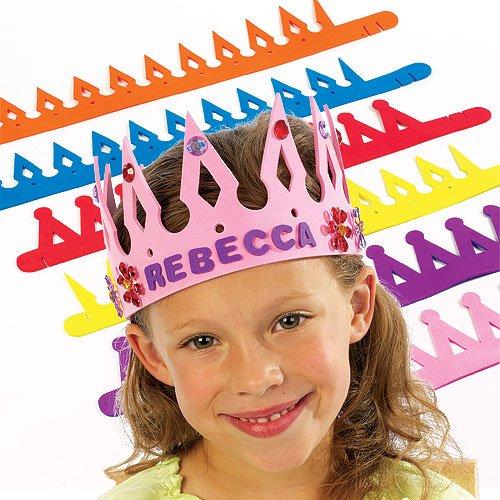 Kostüm Kroenen - Baker Ross Krone zum Basteln - Bunte Kinderkronen aus Schaumstoff in 2 Designs als Geburtstagskronen & zum Fasching/ Karneval (8 Stück)