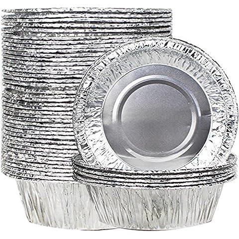 Goodlucky365 50Pcs Disposable Foil Pie Dish13CM Baking Dishes Fluted Tartlet Tins Fluted Flan Tin Aluminum Foil Tart Pie Cases Pie Pan, Disposable Jam Tart Foil Cake Cases, Disposable BBQ Pans BBQ