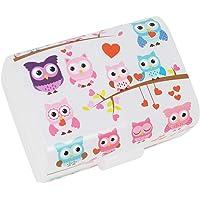 """COM-FOUR® boîte à lunch""""Owls"""" pour vos déplacements - boîte à tartines à 3 compartiments - boîte à déjeuner 17 x 13 x 10…"""