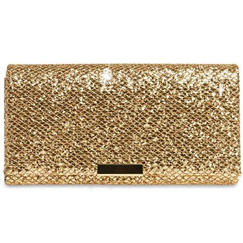 CASPAR TA342 Damen kleine elegante Glitzer Clutch Tasche Abendtasche, Farbe:gold;Größe:One Size