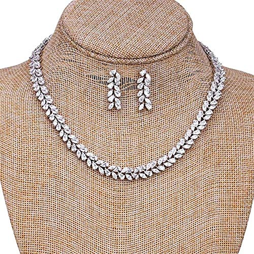 ZOMEBER Mädchen-Halskette Platin Braut Luxus Set Kette Pferdeaugen-Blatt geformte Halskette Ohrring-Set (Platin überzogen) (Farbe : Platinum Plated)