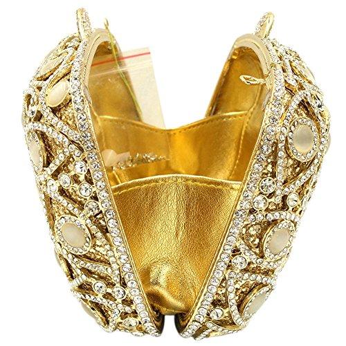 Borsa Donna Pochette Sera Borsetta Portafoglio Partito Cerimonia Sposa Spalla Frizioni Eleganti Argento Gold