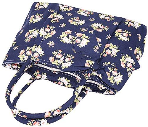 Küstenluder ALEEN Vintage Floral ROSE Blüten Bow Pin Up TASCHE Rockabilly Dunkelblau mit Rosen