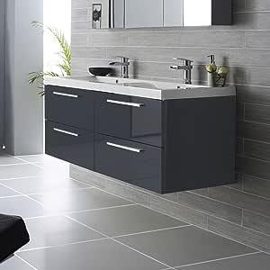 Meuble de salle de bain double vasque lavabo nogara - Meuble de salle de bain mural ...