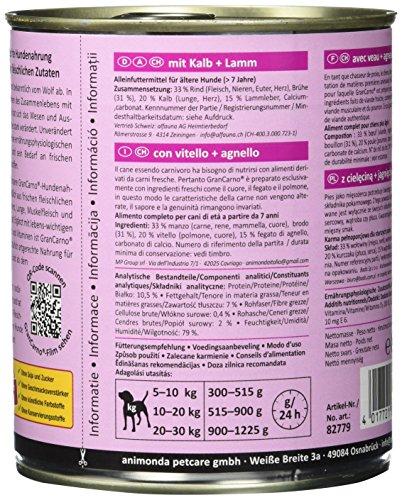 Animonda Gran Carno Hundefutter Senior mit Kalb + Lamm, 6er Pack (6 x 800 g) - 6