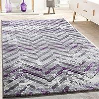 a99770449999b9 Paco Home Designer Teppich Konturenschnitt Skandinavisch Zick Zack Muster  Grau Lila, Grösse:80x150 cm
