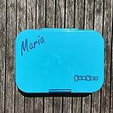 Anton & Sophie YUMBOX Panino (mit 4 Fächern) - PERSONALISIERBAR - Brotbox mit Fester Fächerunterteilung - auslaufsichere Brotdose für Schule (Blue Fish)