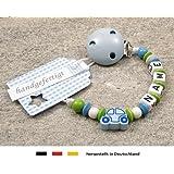 kleinerStorch Baby Schnullerkette mit Wunschnamen - Jungen Motiv Auto blau