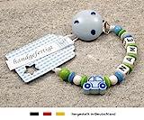 kleinerStorch kS-079-1 Baby Schnullerkette mit Namen - Schnullerhalter mit Wunschnamen - Jungen Motiv Auto