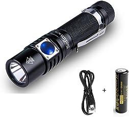 Sofirn SC31 USB wiederaufladbare Taschenlampe 18650 Batterie eingelegt, CREE XPG3 LED Maximal 610 Lumen Hell genug für Camping, Wandern, Bootfahren, Gassi gehen, edc