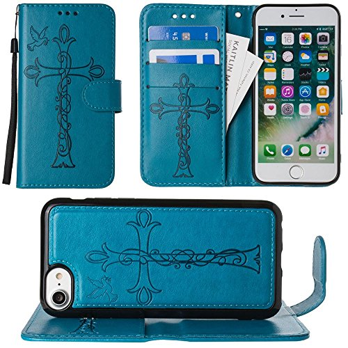 CellularOutfitter iPhone 6/6s/7 Leather Wallet Cross and Dove Embossed - Includes Detachable Matching Slim Case with Wristlet - Purple Teal