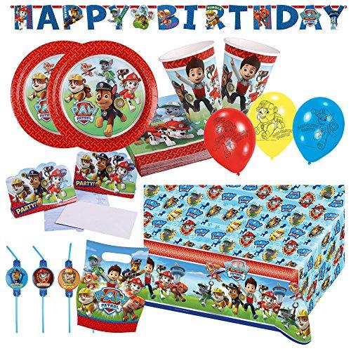 68-teiliges Party-Set Paw Patrol - Teller Becher Servietten Tischdecke Tüten Einladungen Girlande Trinkhalme Luftballons