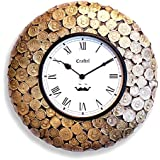 """12"""" Antique Coin Wall Clock By Craftel / Antique Wall Clock / Decorative Wooden Wall Clock / Brass Wall Clock / Vintage Wall Clock For Home And Living Room(Antique Gold)"""