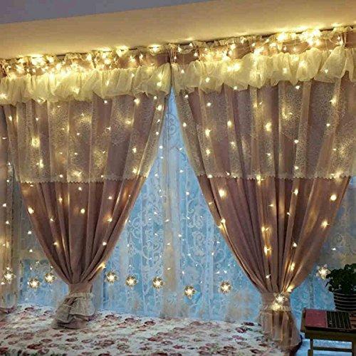 TOFU Lichtervorhang Sterne, Led Lichterkette fenster mit EU-Stecker, warmweiße Weihnachtsdeko für Vorhang, Weihnachten, Halloween, Hochzeit, Clubs, Kinderzimmer, zu Hause, Deko Party Innen/Außen - 2