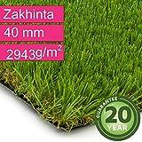 Kunstrasen Rasenteppich Zakhinta für Garten - Florhöhe 40 mm - Gewicht ca. 2943 g/m² - UV-Garantie 20 Jahre (DIN 53387) - 2,00 m x 0,50 m | Rollrasen | Kunststoffrasen