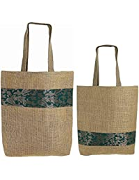 [Sponsored]ShalinIndia - Set Of 2 Multipurpose Shopping Bags, Jute Shimmer,Natural Fiber Size Size-30 Cm X 40 Cm,Straps -...