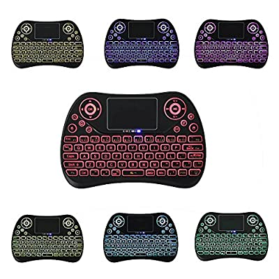 Colorful Backlit Mini 2.4G Wireless Touchpad Keyboard Mouse, USB Rechargeable,Support Windows, Android and iOS, Linux OS, Google, Android tv box,HTPC,IPTV,PC etc (backlit 7 color)
