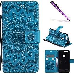 COTDINFOR Cuir Premium Coque pour Huawei Honor 8,Motif d'embossage de Fleurs de Mandala Conception Couverture de Protection Magnétique Housse,Etui Housse pour Huawei Honor 8 Blue Sunflower KT.