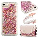 E-Mandala Apple iPhone 6 6S 7 8 Hülle Glitzer Flüssig Liquid Handyhülle Schutzhülle Transparent mit Muster Durchsichtig Tasche Silikon - Rose Gold Herz