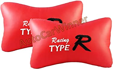 Auto Car Winner NR-TRR-1 Car Neck Rest Cushion (Set of 2, Red)