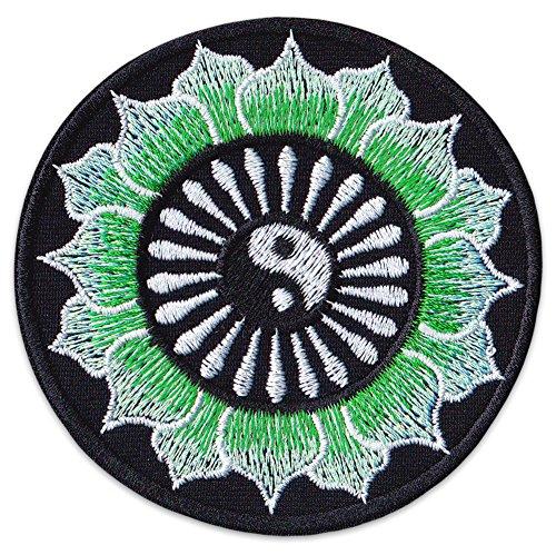 Yin Yang Chakra Aufnäher Aufbügler Patch Yoga Budhha Hippie Goa Kampfsport Aum (Klein Grün)