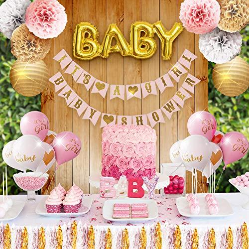 Happy Feet Dekorationsset für Babyparty, Rosa, Weiß und Gold, mit Bannern, Luftballons, Laternen, Quasten und Schärpe (35 Stück)