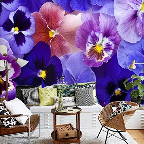 (Guyuell Fototapete Benutzerdefinierte Schöne Lila Blume Close Up Tv Hintergrund Dekorative Wandbild Schlafzimmer Hotel Thema Restaurant Tapete-250Cmx175Cm)