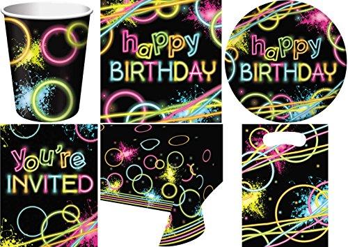 49-teiliges Party Set Birthday Neon Kindergeburtstag Geburtstag Party Fete Feier 8 Teller, 8 Becher, 16 Servietten, 8 Einladungskarten, 8 Partytüten, Tischdecke