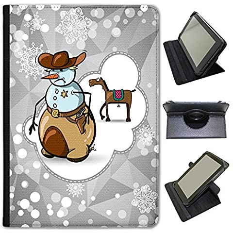 Cheval vacances flocon de neige Saison universel Fancy A Snuggle Étui en similicuir avec support de visionnage 10 Inch Universal Case - 260mm x 177mm Snowman Cowboy Sherriff Badge